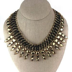 BCBG Gold & Black Leather Collar Necklace